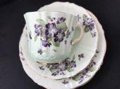 Old Royal pale green with violets tea trio